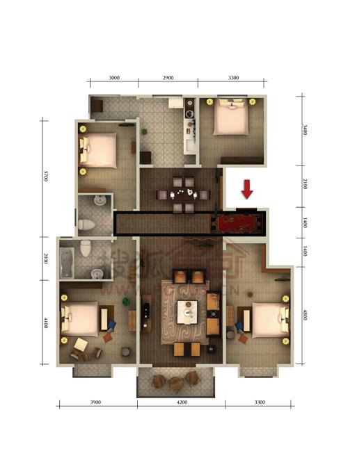 朝阳首府四室两厅两卫约152.32平米户型图户型
