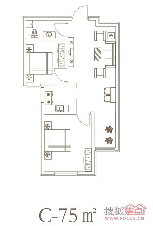 80平米房子两室一厅一厨一卫装修效果图-80平房子装修设计图 宽300×