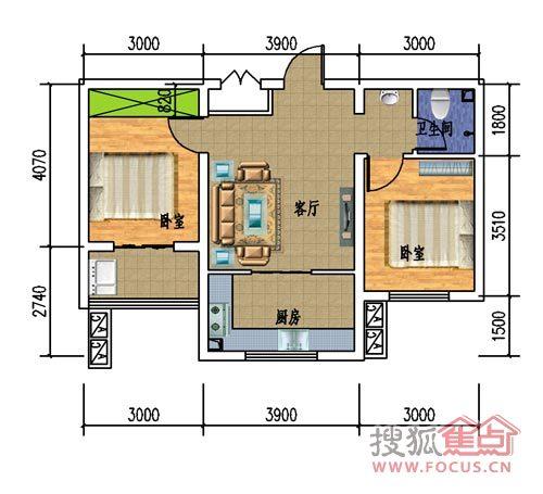 4#两室一厅一厨一卫户型