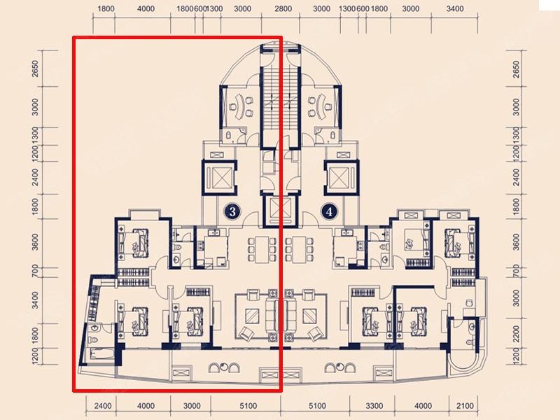 恒大御景半岛一期四居室6号栋3_恒大御景半岛一期户型