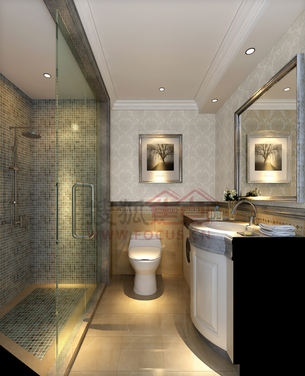 汇邦中心:a户型洗手间装修效果图