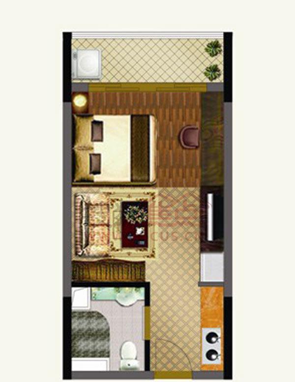 兰亭璟濠大厦一居室t1栋标准层 单身公寓 1室33.00㎡
