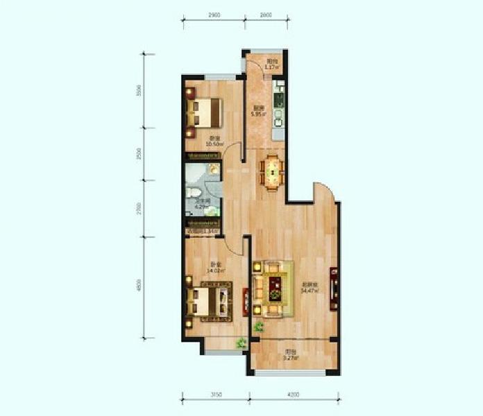 19号楼70.57平米两居-2室1厅1卫-105m