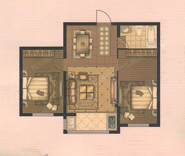 1号楼2号楼50.27平米两居户型