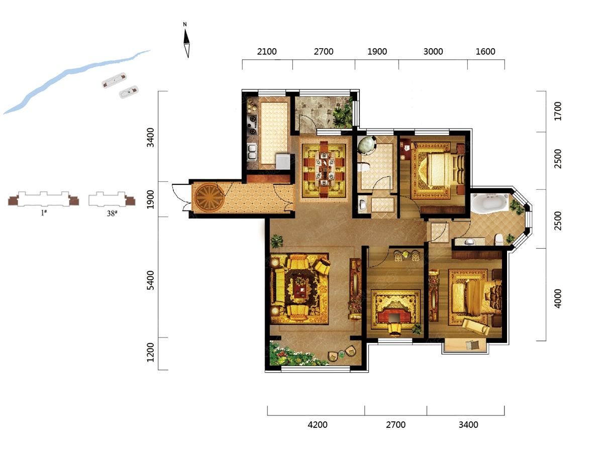 辰能溪树庭院三居室璞园1号楼38号楼90平米_辰能溪树