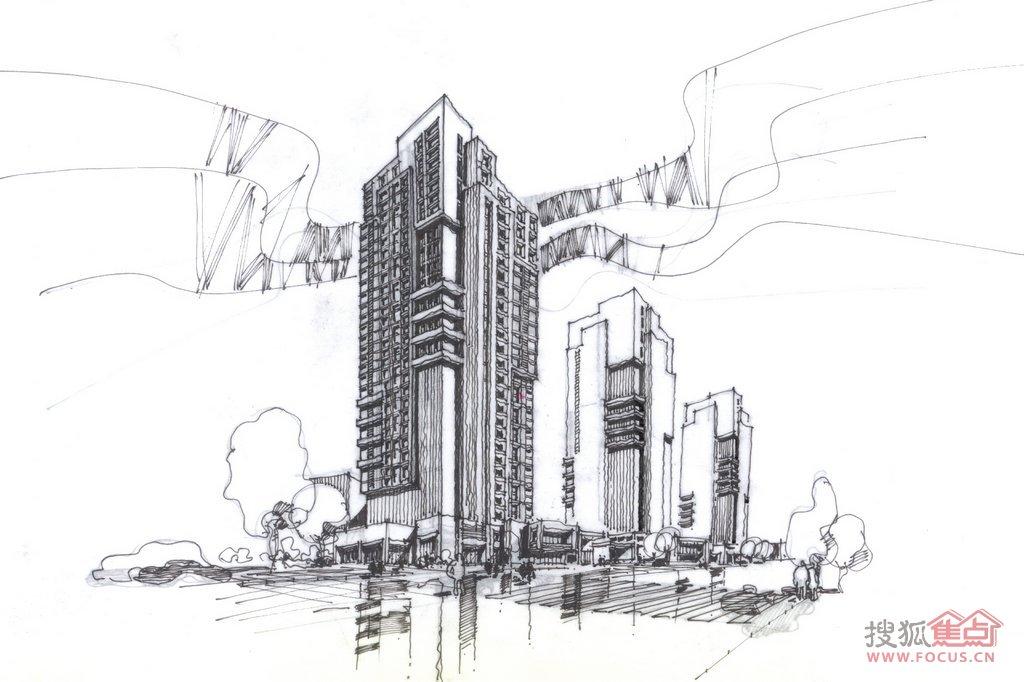 国际城手绘效果图