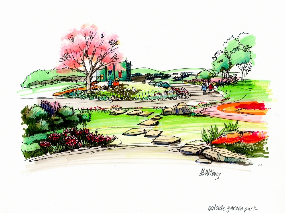 柏悦星城景观局部手绘图