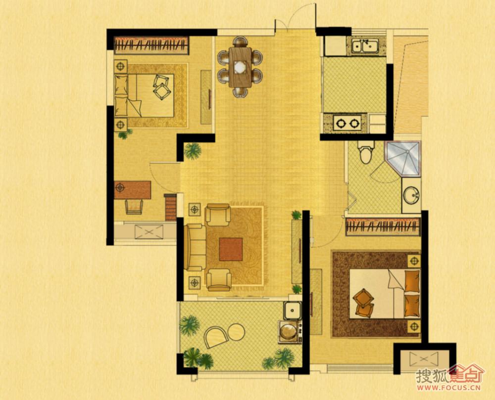 120平方4室一厅设计图