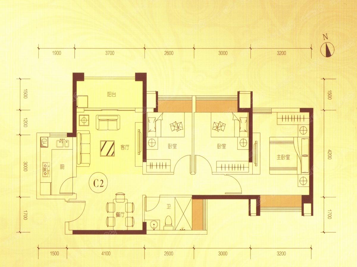 中国海南海花岛三居室c2户型_中国海南海花岛户型图