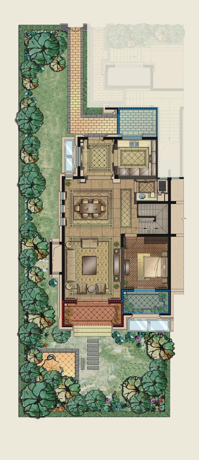 保利城庭院花界196平方米首层户型图户型