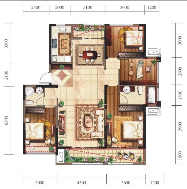 15#楼a户型图-4室2厅2卫-145m
