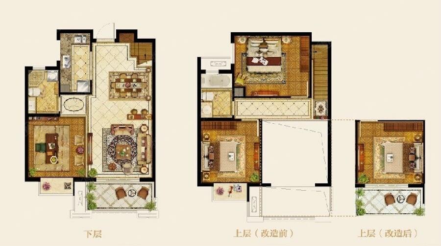 保利罗兰春天128㎡微墅户型图-4室2厅2卫-128.00㎡