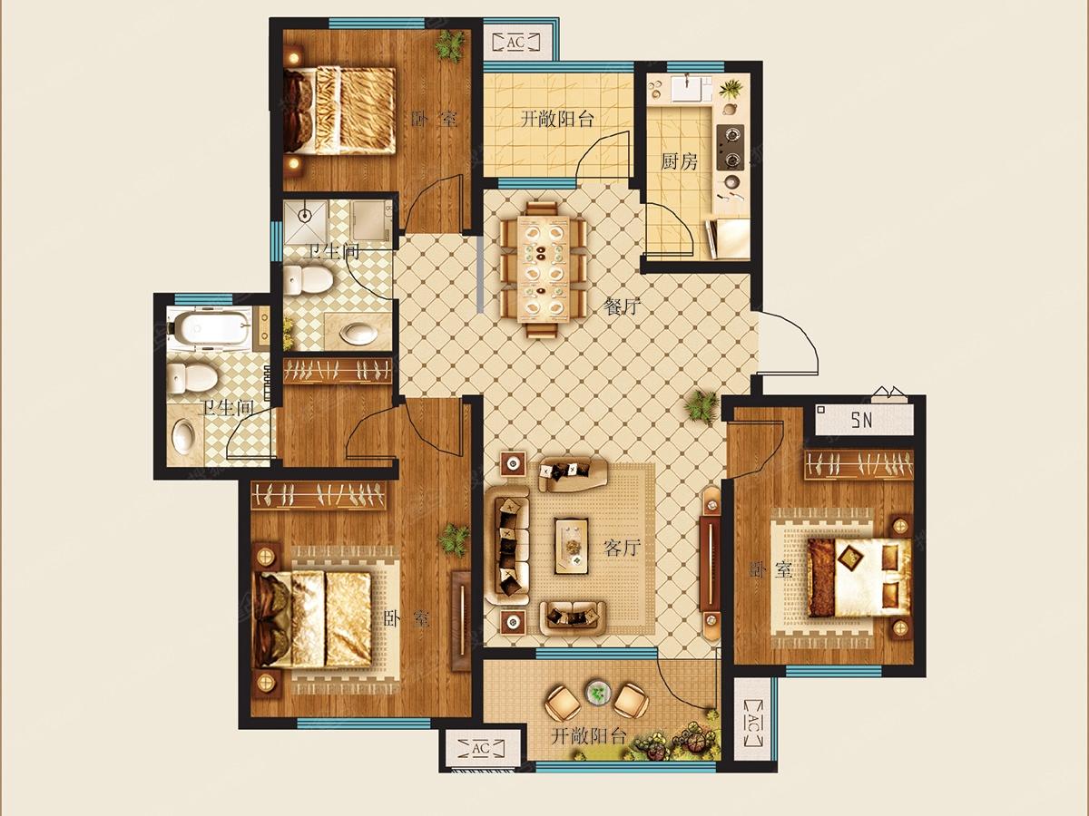 绿城理想之城三居室高层c_绿城理想之城户型图-青岛