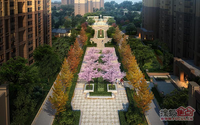 中海国际社区·御城主入口景观轴效果图