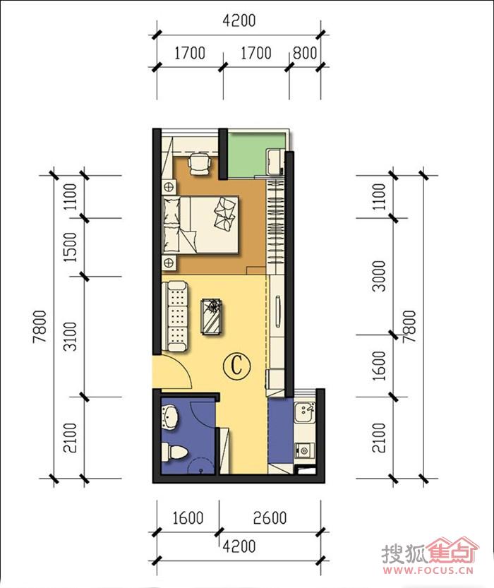 龙海家园一居室单身公寓_龙海家园户型图-深圳搜狐