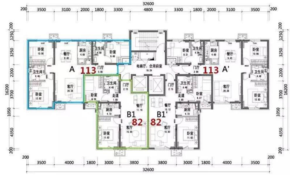 华润橡树湾五期高层82 113平米户型楼层平面图