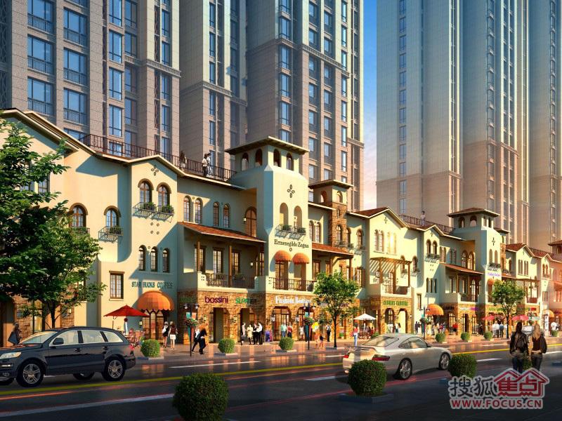 中建城楼盘效果图 -中建城商业沿街黄昏人视图