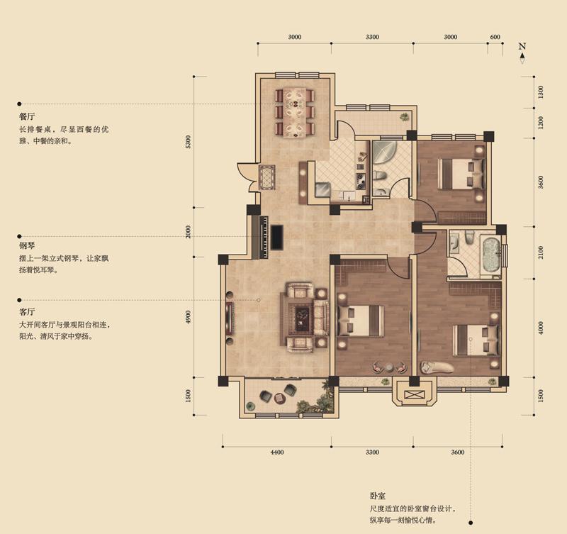 华夏山海城三居室d_华夏山海城户型图-威海搜狐焦点网