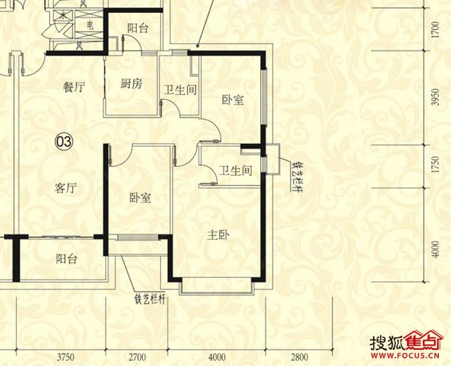 恒大绿洲(二期)三居室31栋03户型_恒大绿洲(二期)户型