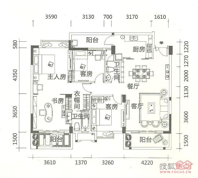 阳光半岛5期光影洋房01户型3房两厅-3室2厅2卫-135m