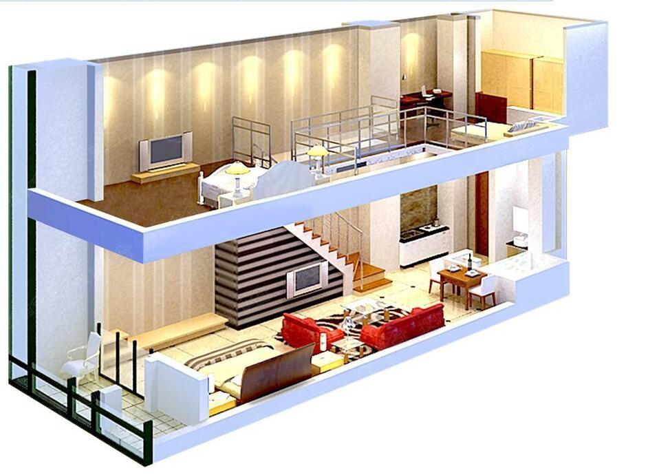 豫森城36-60平loft复式立体图