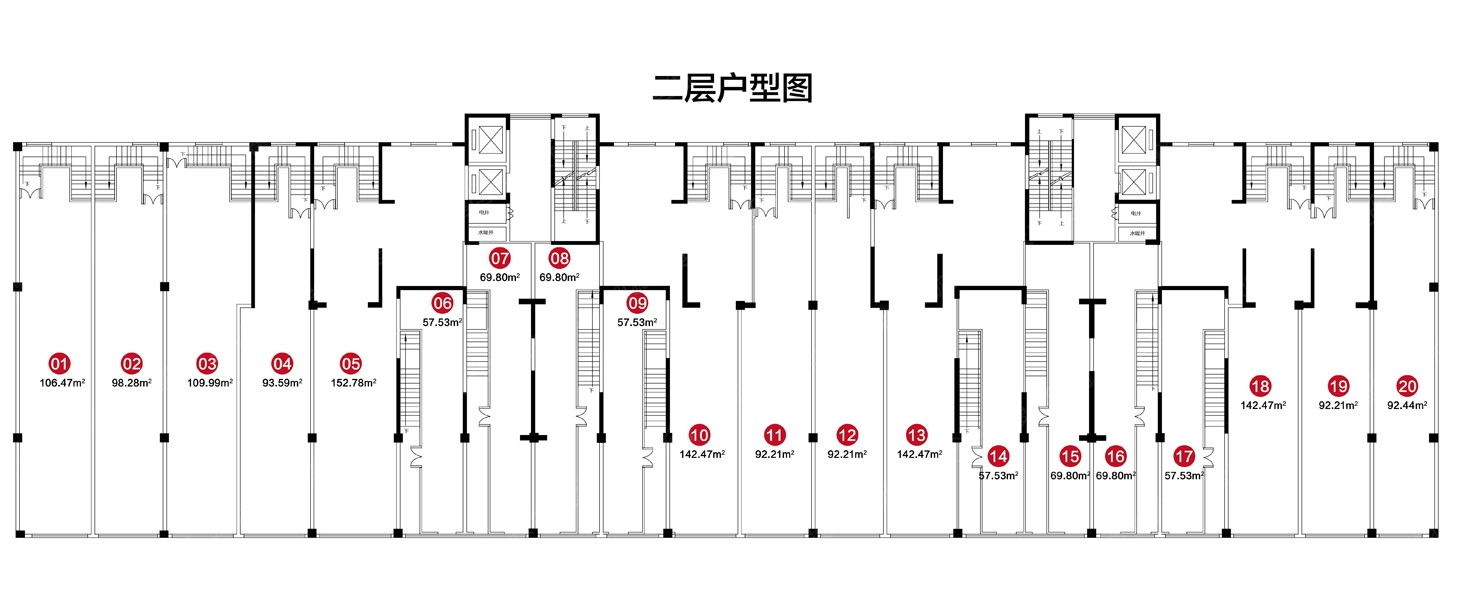德风美瑜广场商铺二层楼层平面图
